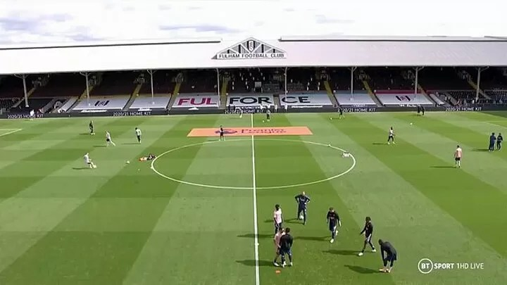 Arsenal pair Eddie Nketiah and Dani Ceballos come to blows during warm-up before Fulham 2