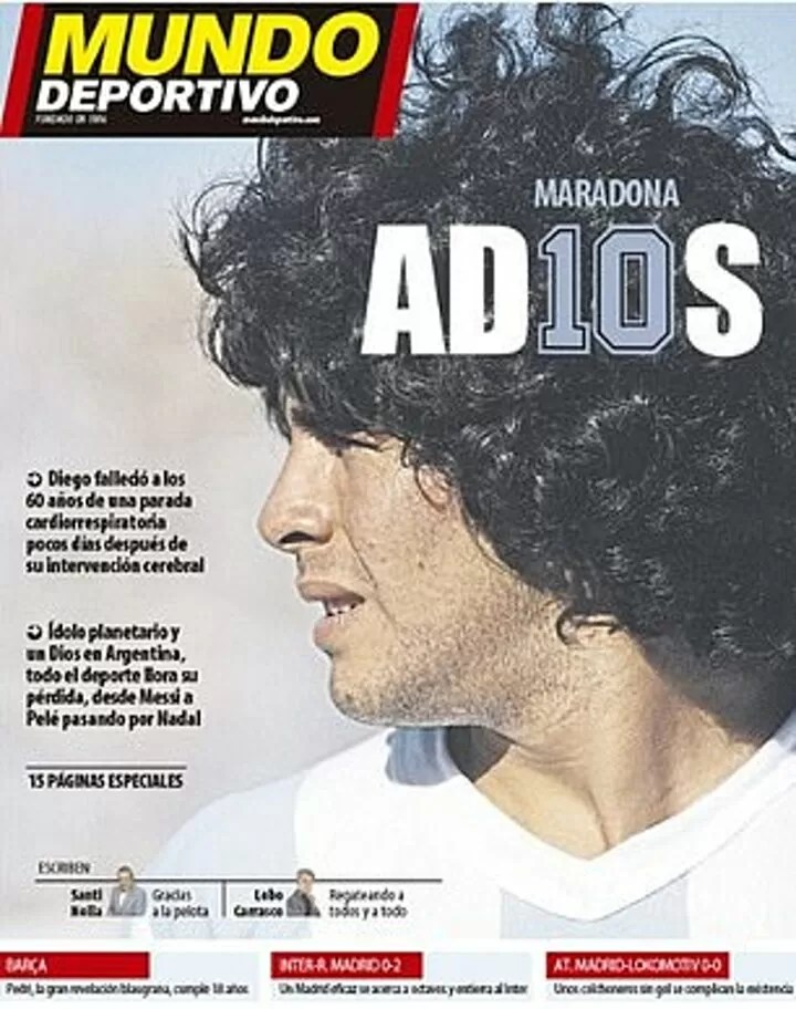'god is dead': Europe's papers pay moving tributes to Diego Maradona 6