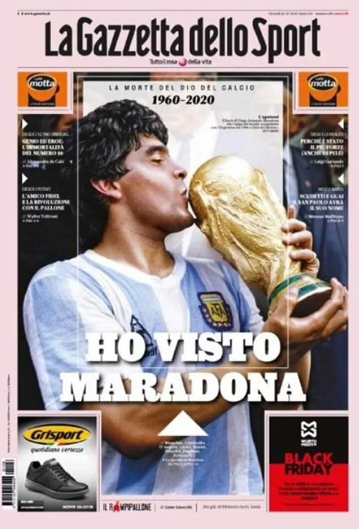 'god is dead': Europe's papers pay moving tributes to Diego Maradona 3
