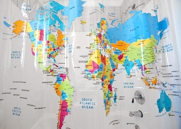 World Map Shower Curtain 7 Globe Inspired Home Decor To Make