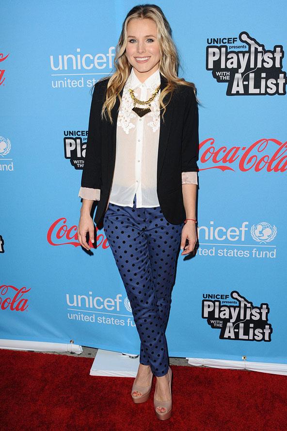 Kristen Bell 10 Celebrities Wearing Polka Dots Who