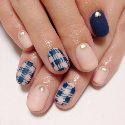 Navy Blue And Wiht Hearts Nail