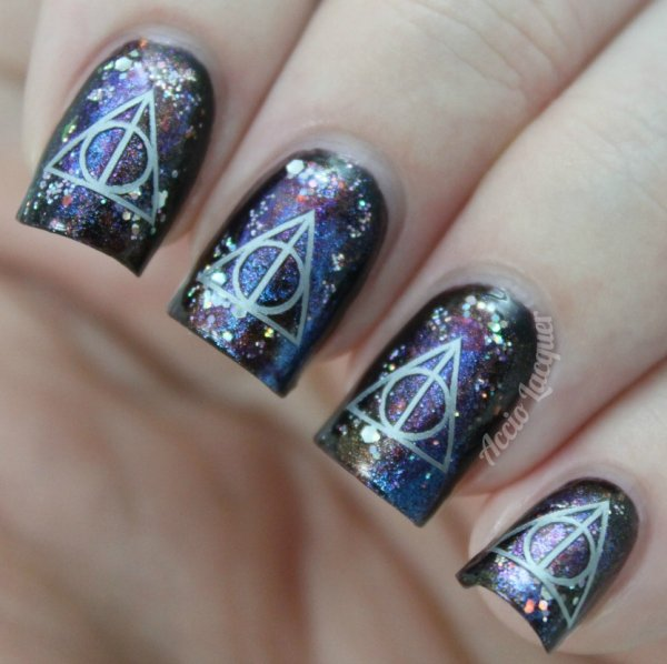 Deathly Hallows On Black And Glitter 25 Harry Potter