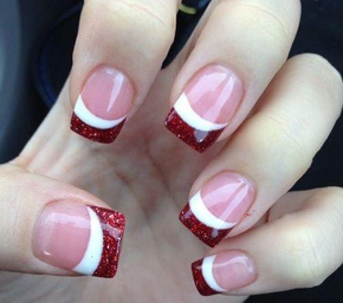 Red Glitter French Tip Via 22 Lovely Nail Art