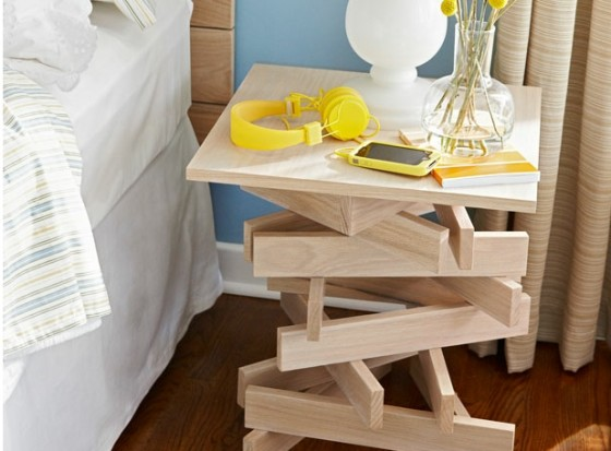 stacked wood - 7 beautifully unique diy bed stands  …