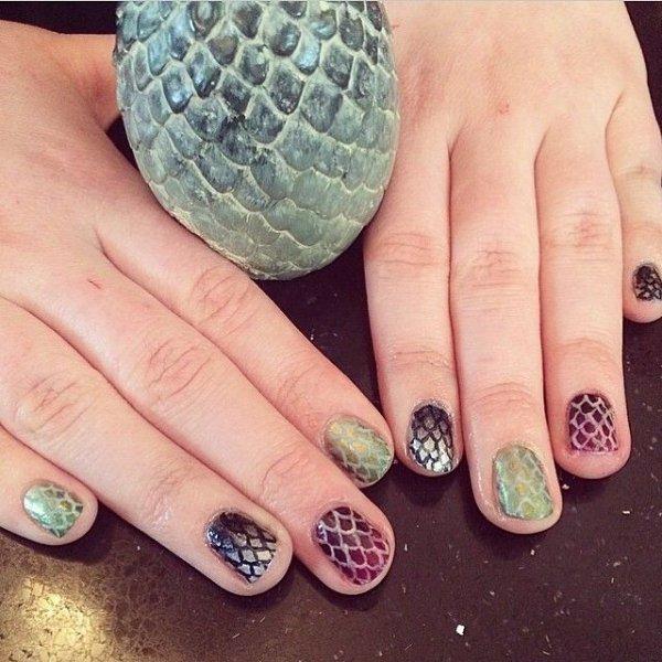 Diffe Colored Dragon Egg Nails