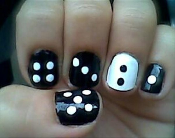 All You Need For This Adorable Look Is Some Black Polish White And A Bobby Pin