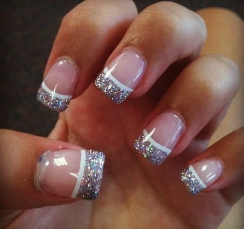 Sparkly French Tips Nail