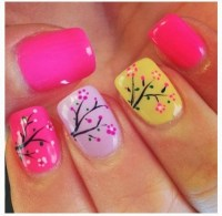 40. Colorful Cherry Blossoms - 45 Flirty Spring Nail Art ...