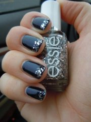 black and silver glitter tipped