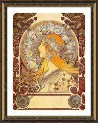 FRAMED Poster Zodiac Alphonse Mucha Framed Decor For ...