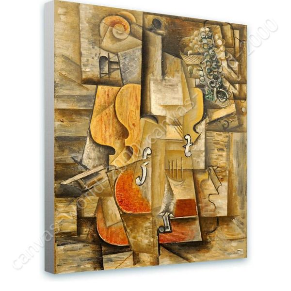 Violin And Grapes Pablo Picasso Canvas Rolled