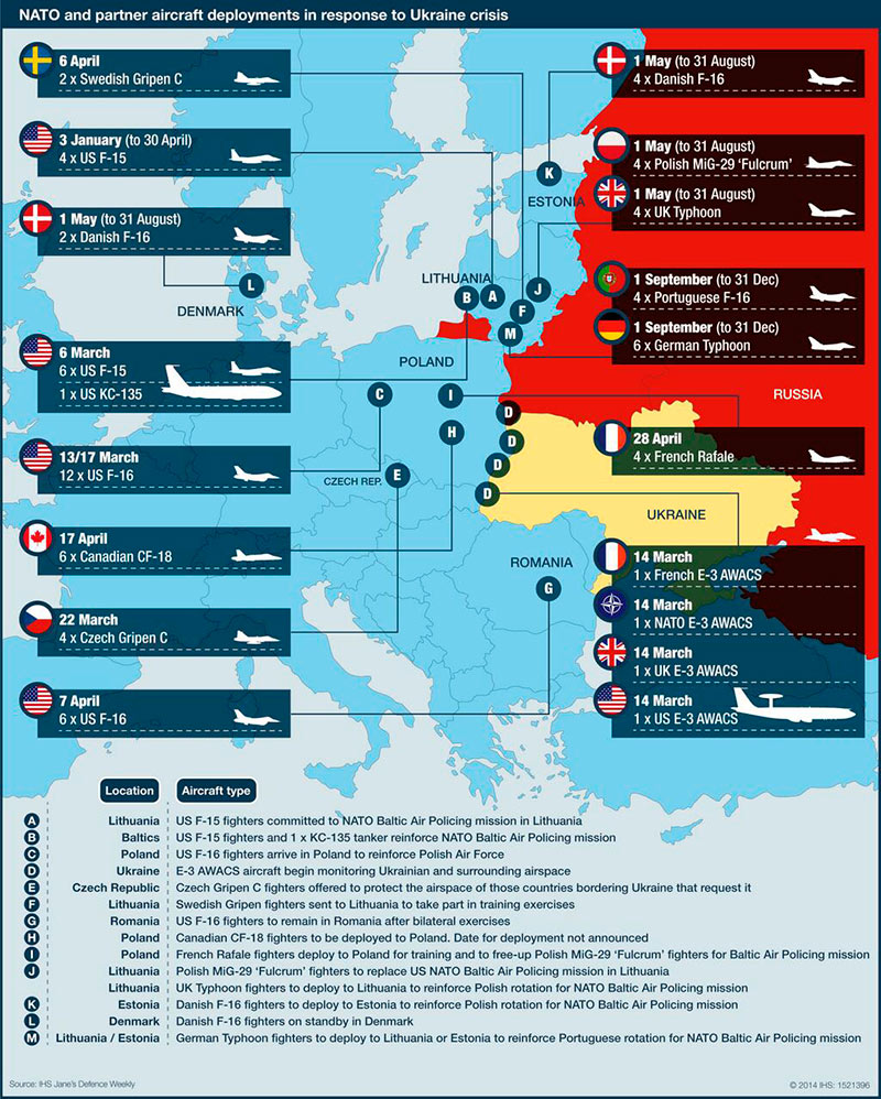 ΝΑΤΟ - τοποθετήσεις αεροσκαφών σε απάντηση της κρίσης στην Ουκρανία. (*Πατήστε στην εικόνα για μεγέθυνση)