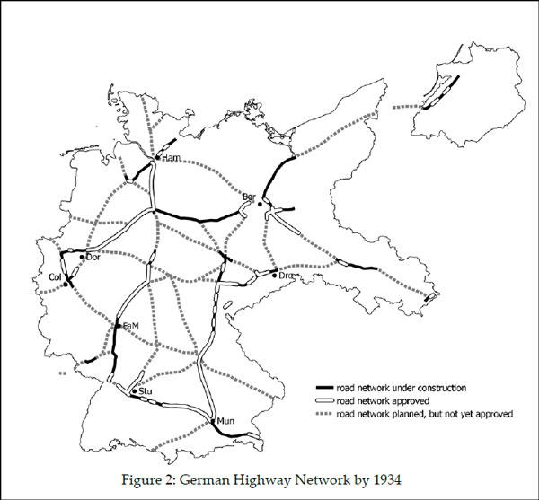 Το δίκτυο των εθνικών οδών το 1934
