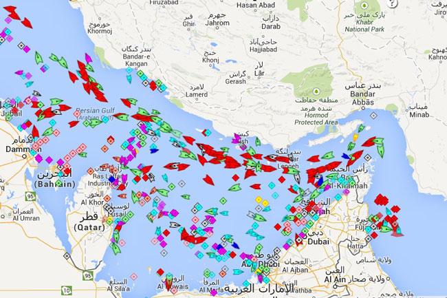 Αναπαράσταση του ασυνήθιστα μεγάλου αριθμού πλοίων στα στενά του Hormuz
