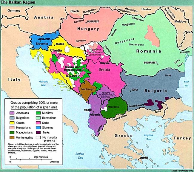 Βαλκάνια - η κατανομή πληθυσμών ανά περιοχή-χώρα