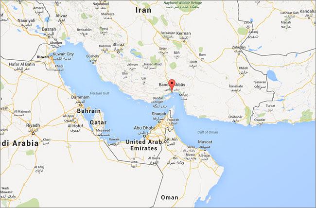 Χάρτης – η θέση του νότιου ιρανικού λιμανιού Bandar Abbas