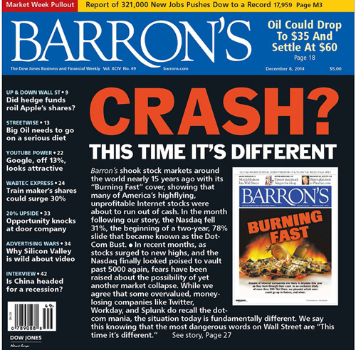 Εξώφυλλο του περιοδικού Barron's (τεύχος 8 Δεκεμβρίου 2014)