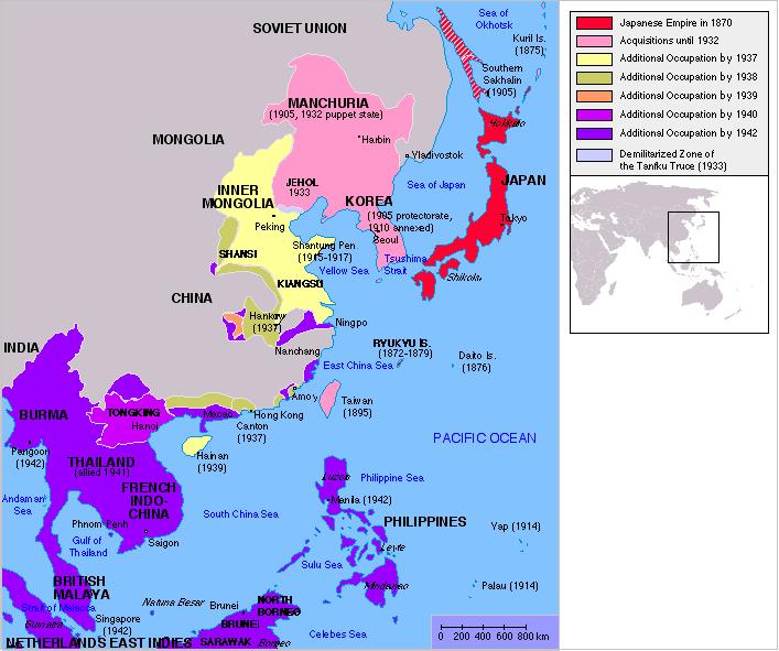 ΧΑΡΤΗΣ - Ιαπωνία, ιστορία, εδαφική επέκταση