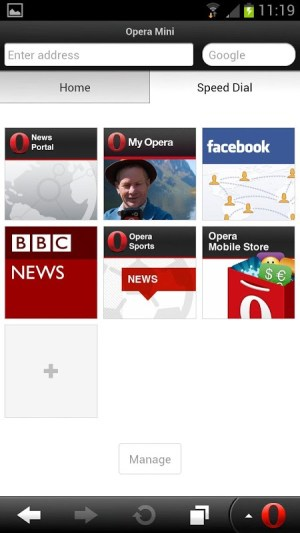 Android Opera Mini web browser Screen 1