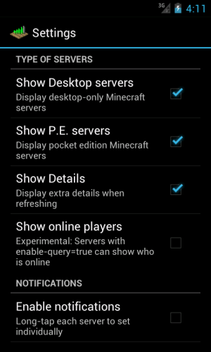 Android Server Status (for Minecraft) Screen 3
