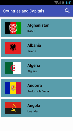 Android Countries and Capitals Screen 1