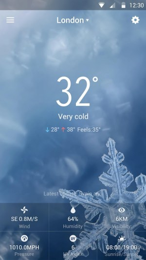 Android weather widget with  wind Screen 7