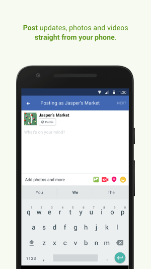 Android Facebook Pages Manager Screen 2