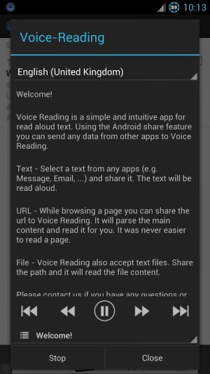 Android Voice Reading (Read aloud) Screen 1