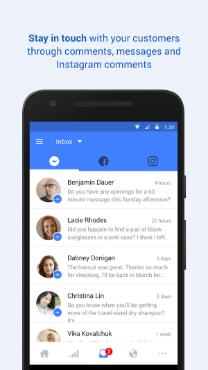 Android Facebook Pages Manager Screen 3