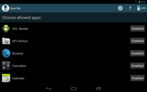 Android Save Me control your apps free Screen 2