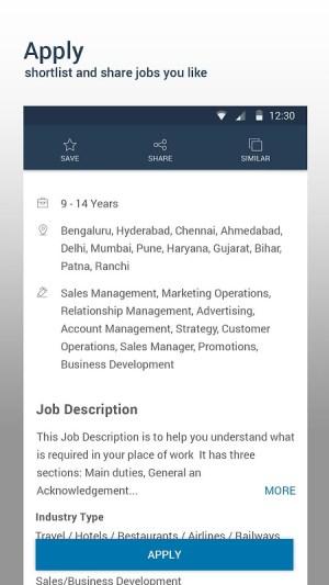 Android Naukri.com Job Search Screen 1