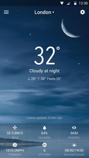Android weather widget with  wind Screen 5