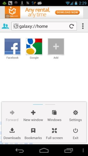 Android Galaxy Flash Browser Screen 2