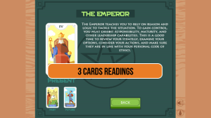 Android 3 Card Tarot Reading Screen 2