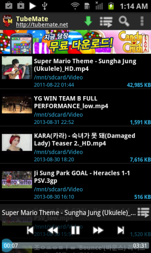 Android TubeMate YouTube Downloader Screen 1