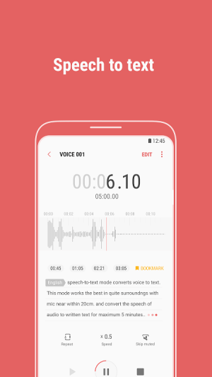 Android Samsung Voice Recorder Screen 1