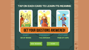 Android 3 Card Tarot Reading Screen 1