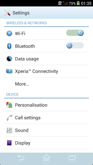 Android XPERIA™ Blue Water Theme Screen 8