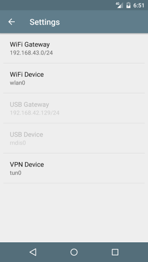 Android TetherVPN Screen 1