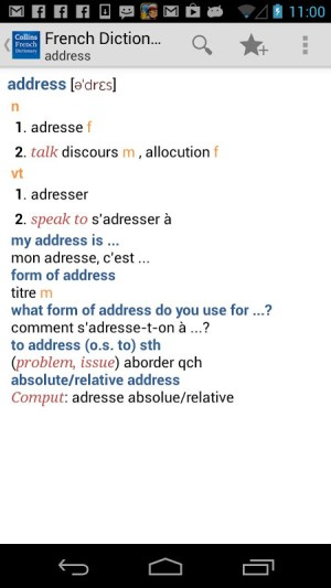 Android Collins French Dictionary Screen 5