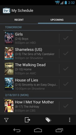 Android TV Show Favs Screen 1