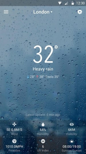 Android weather widget with  wind Screen 4