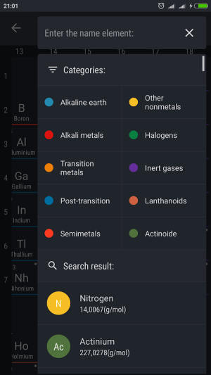 Android Periodic Table 2017 Screen 3