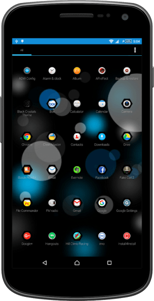 Android Black Crystals Theme Screen 1