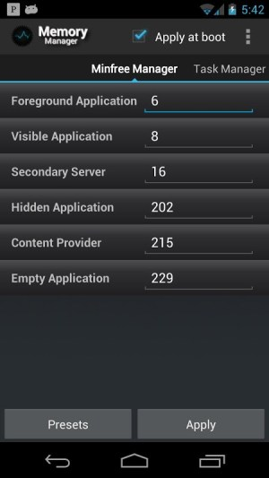 Android Memory Manager Screen 1