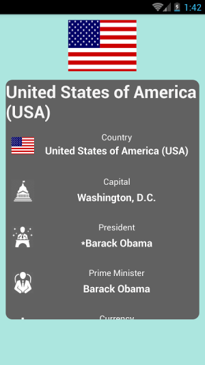 Android Countries and Capitals Screen 4
