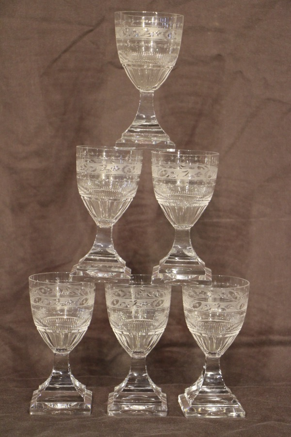 Buy 6 Georgian Crystal Wine Goblets Glasses From Antiques