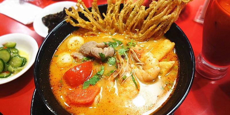 新光三越大心新泰式麵食;四道湯底麵食打天下,酸辣偏重口味特色南洋麵食,餐點水準不錯。
