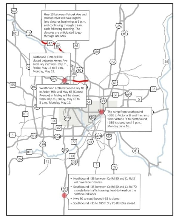 Weekend road closings to challenge Twin Cities drivers